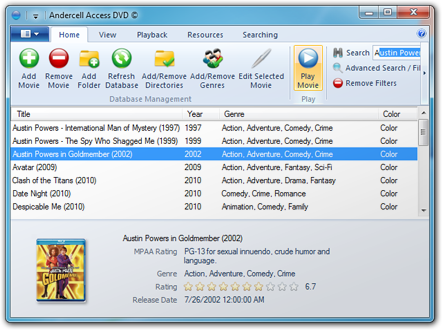 Movie Database Software - Access DVD 2 - Screenshot